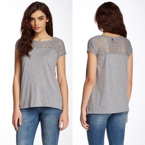 DKNY Jeans Short Sleeve Lace Top Gray Small